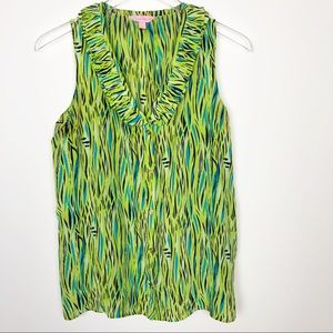 Lilly Pulitzer | Green Ruffle Tank Top Size 8